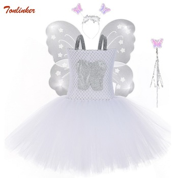 White Baby Girl Tooth Fairy Tutu Dress Butterfly Wings Headband Wands Princess Kids Halloween Cosplay Fancy Party Dress Costume glittery unicorn princess pageant flower girl tutu dress kids party costume with headband and wings halloween cosplay girl dress