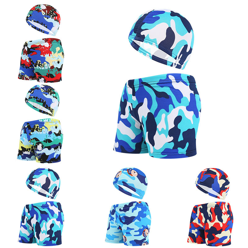 BOY'S Hooded Swimming Trunks Boxer Cute Shorts Big Boy Camouflage Swimming Trunks Yk4805