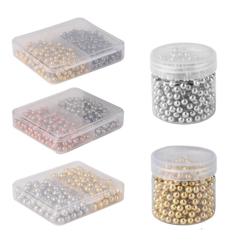 400pcs Gold Silver Color Push Pins Assorted Paper Map Cork Board New Capped Headed Fixing Thumb Tacks Pin Office School Supplies
