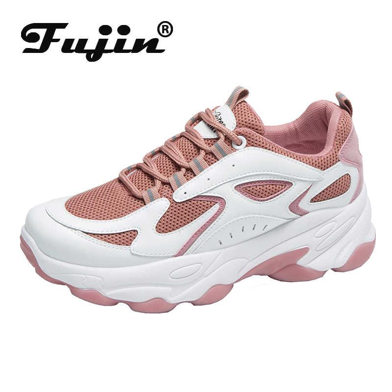 Fujin scarpe Da Tennis Delle Donne di Autunno della Molla di Spessore Inferiore Dropshipping Per Il Tempo Libero Del Merletto di Modo di Modo Della Piattaforma Traspirante scarpe Maglia Scarpe Da Donna
