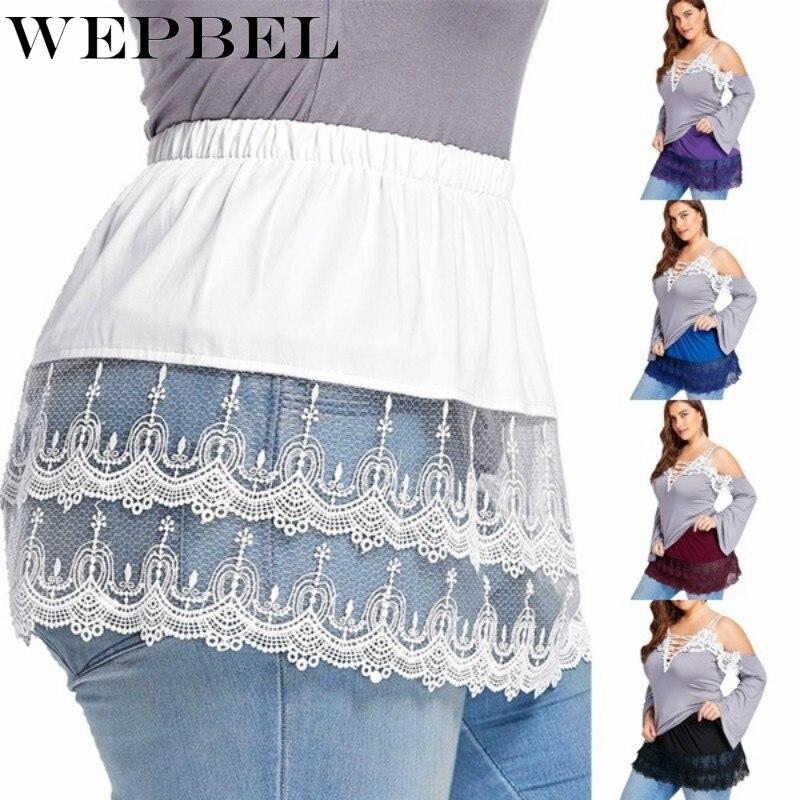 WEPBEL Plus Size Women's Inner Wear Skirt Layered Skirts Extender Tiered Sheer Lace Trim Extender Half Slips Patchwork Skirt