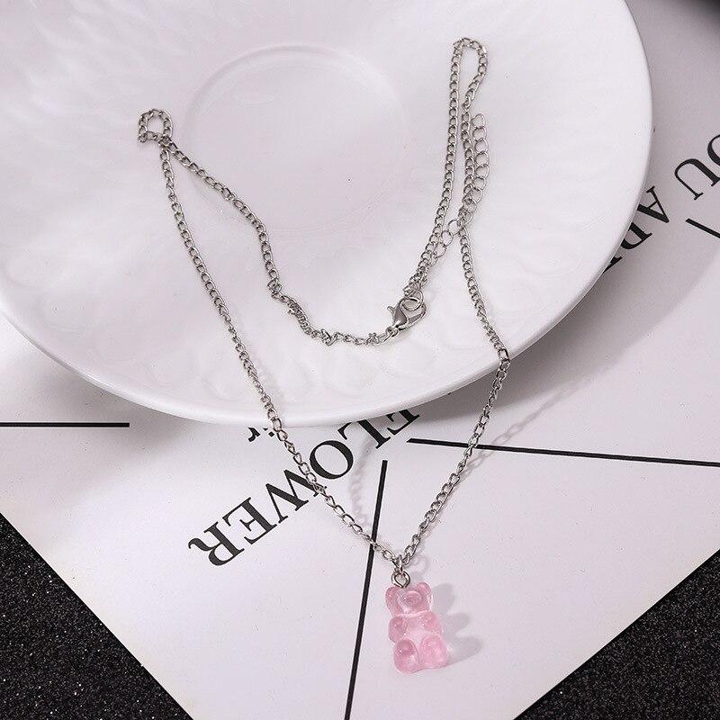 Drôle Animal ours résine mignon pendentif collier pour fille femmes bonbons couleur à la main bijoux de mode gomme clavicule chaîne