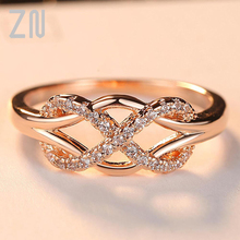 ZN New Cubic Zirconia Crystal Infinite Rings For Women Fashion Design Statement Rose Gold Color Ring Wedding Jewelry Gift 2020 fashion design cubic zirconia rings for women rose gold silver color round crystal ring female anel party statement jewelry
