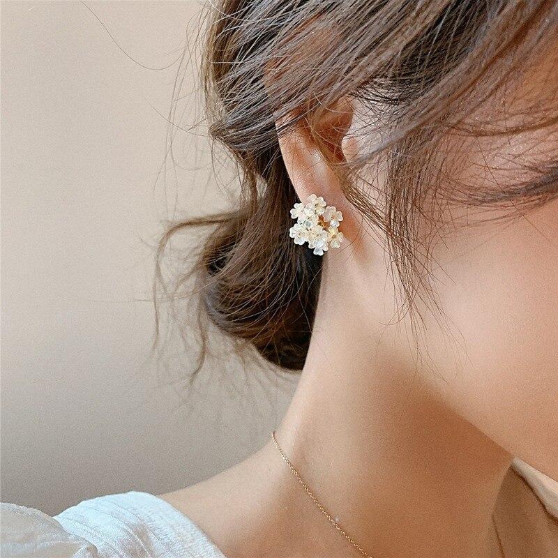 Купить женские серьги гвоздики в виде ракушек mengjiqiao новые корейские