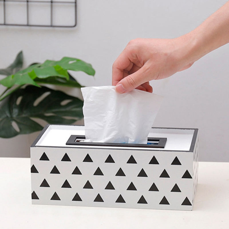 Wooden Tissue Box Container Napkin Tissue Holder Paper Dispenser Simple Fashion Tissue Holder Case for Office Home Decoration title=