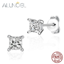 ALLNOEL 925 Sterling Silver Stud Earrings For Women 5A White Zircon Gemstone Diamond Earrings Engagement Wedding Fine Jewelry