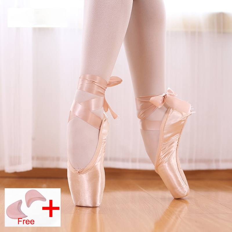 Pointe Shoes Bandage Ballet Dance  Girl Woman Professional Canvas/Satin Dancing  with Sponge Silicone Toe Pads