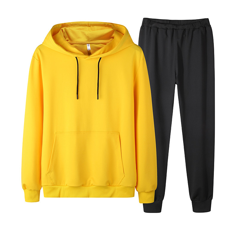 Men Tracksuit New Autumn 2PCS Sets Sweatshirt+Pant Solid Hoodie Set Male Sportswear Suits Slim Fit Clothing Asia Size 4XL