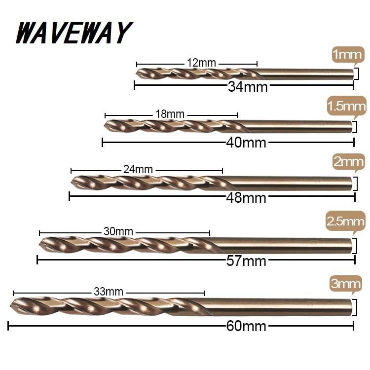 10pcs/Set Twist Drill Bit Set HSS M35 Co Drill Bit 1mm 1.5mm 2mm 2.5mm 3mm Used For  Stainless Steel