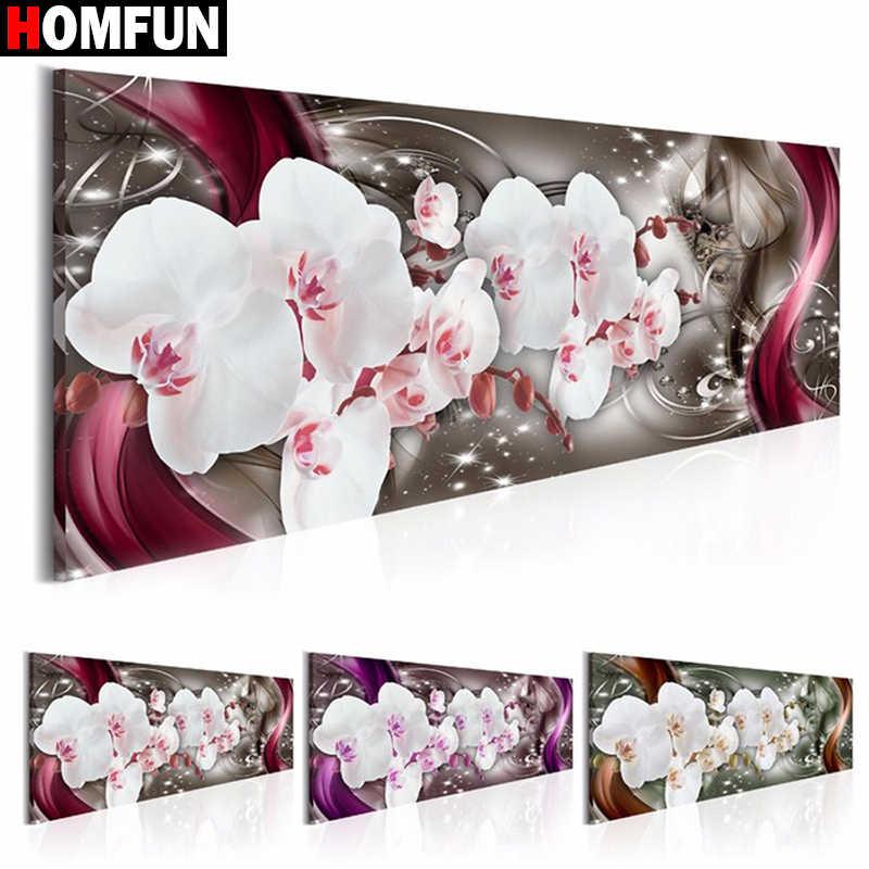 "HOMFUN เต็มรูปแบบสแควร์/รอบเจาะ 5D DIY เพชรภาพวาด ""Orchid ดอกไม้"" 3D เย็บปักถักร้อยข้าม Stitch 5D บ้านของขวัญ BK01"