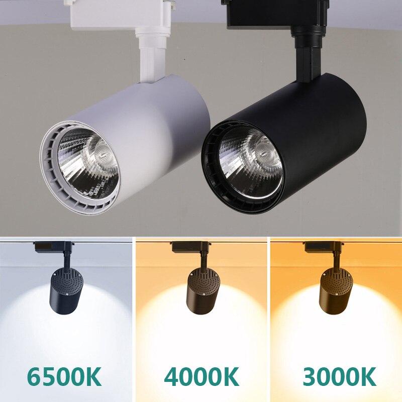 Led Track Lights 220V COB Track Lamp Lighting Fixture 12W 20W 30W 40W Spotlights Rail Lamps For Cloth Shop Home Lighting Bedroom