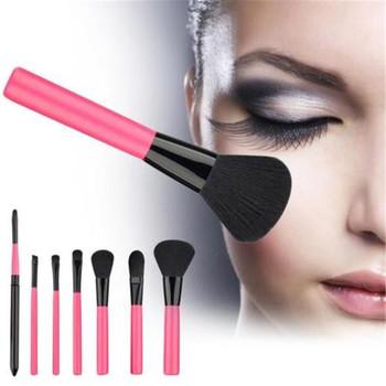 Różany czerwony zestaw pędzli do makijażu fundacja Powder Blush Eyeshadow Concealer Lip pędzel do makijażu powiek kosmetyki przybory kosmetyczne tanie i dobre opinie Linmei COMBO CN (pochodzenie) NYLON 7pcs 796657 Zestawy i zestawy Drewna rose red make up