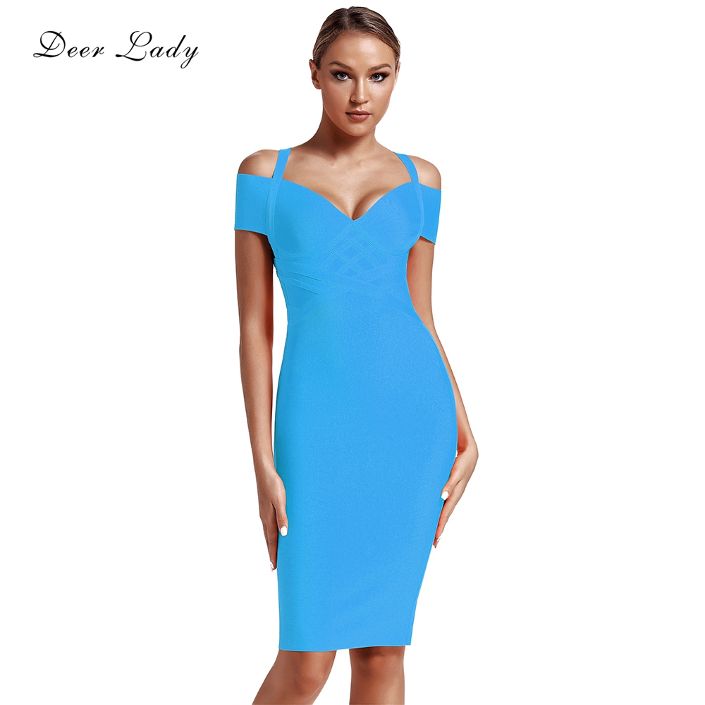 Deer Lady Summer Celebrity Bandage Dress 2019 New Arrivals Pink Bandage Dress Knee Length Women Yellow Off Shoulder Party Dress