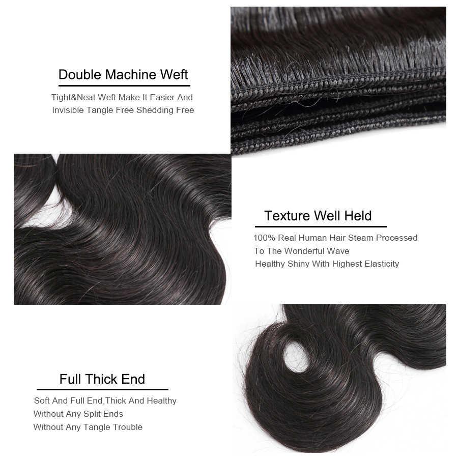 Missblue vücut dalga perulu saç örgü demetleri 100% insan saç demeti 30 32 34 36 38 40 inç doğal renk Remy saç ekleme