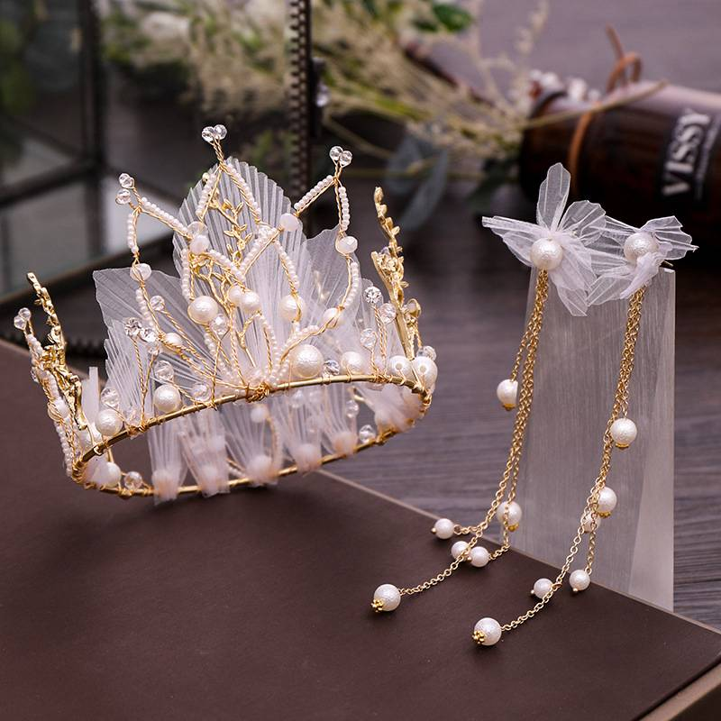 Jewelry-Set Tassel-Earrings Wedding-Dress-Accessories Bride's Pearl New Crown Silk