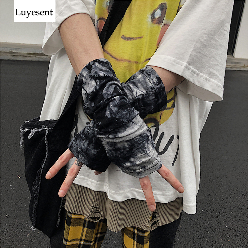 Tie Dye Punk Gothic Unisex Fingerless Cuff Thin Gloves Women Men Ninja Sport Outdoor Elbow Length Mittens 2020 Cool Arm Warmer