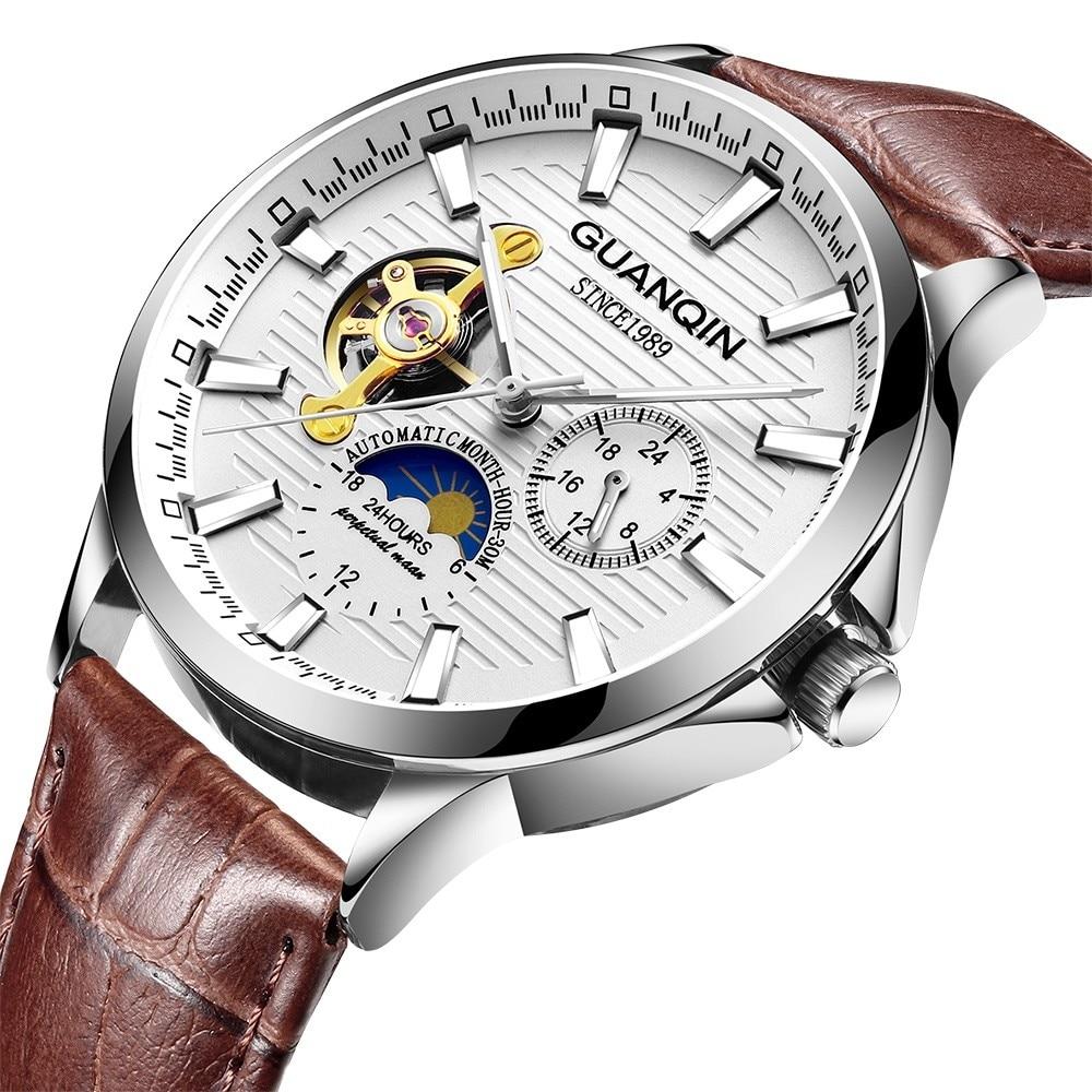 H3e61e0d0ff784a8c9a3ec8a456ddd42do GUANQIN 2019 automatic watch clock men waterproof stainless steel mechanical top brand luxury skeleton watch relogio masculino