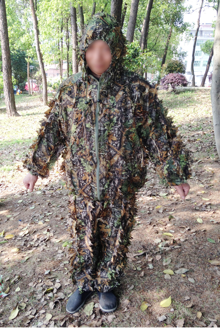 Plus-sized 3D Camouflage Bionic Leaf Mantle Camouflage Ghillie Suit Camouflage Clothing Bird Watching Service Da Lie Fu
