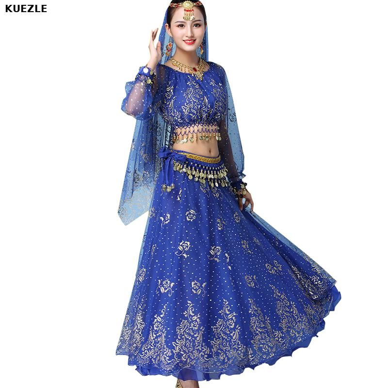 8 piece set Dress Costume Women Set <font><b>Indian</b></font> Dance <font><b>Sari</b></font> Belly Dance Outfit Performance Clothes Chiffon Top Belt <font><b>Skirt</b></font> veil Bracele image