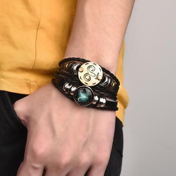 2 pi ces ensemble 12 Bracelets Constellation breloque lumineuse Bracelet cuir zodiaque Horoscope tress Bracelet hommes