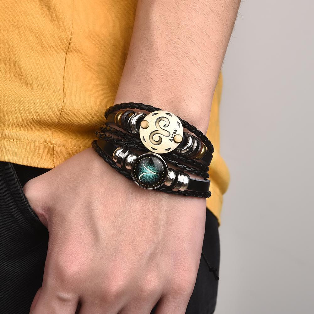 2pcs/set 12 Constellation Bracelets Luminous Charm Leather Bracelet Zodiac Horoscope Braided Bangle Men Women Jewelry Wrist Gift