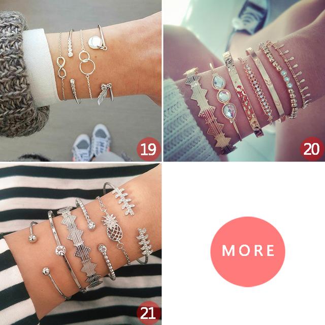 21 Style Women Fashion Moon Leaf Shell Cross Crystal Geometry Bracelet Set Boho Vintage Beach Jewelry Accessories Lover Gifts