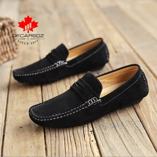 الرجال قارب الأحذية الذكور الخريف الجلد المدبوغ الأخفاف العلامة التجارية الانزلاق على محرك الرجال حذاء كاجوال حذاء رجالي الأحذية موضة مريح حذاء رجالي