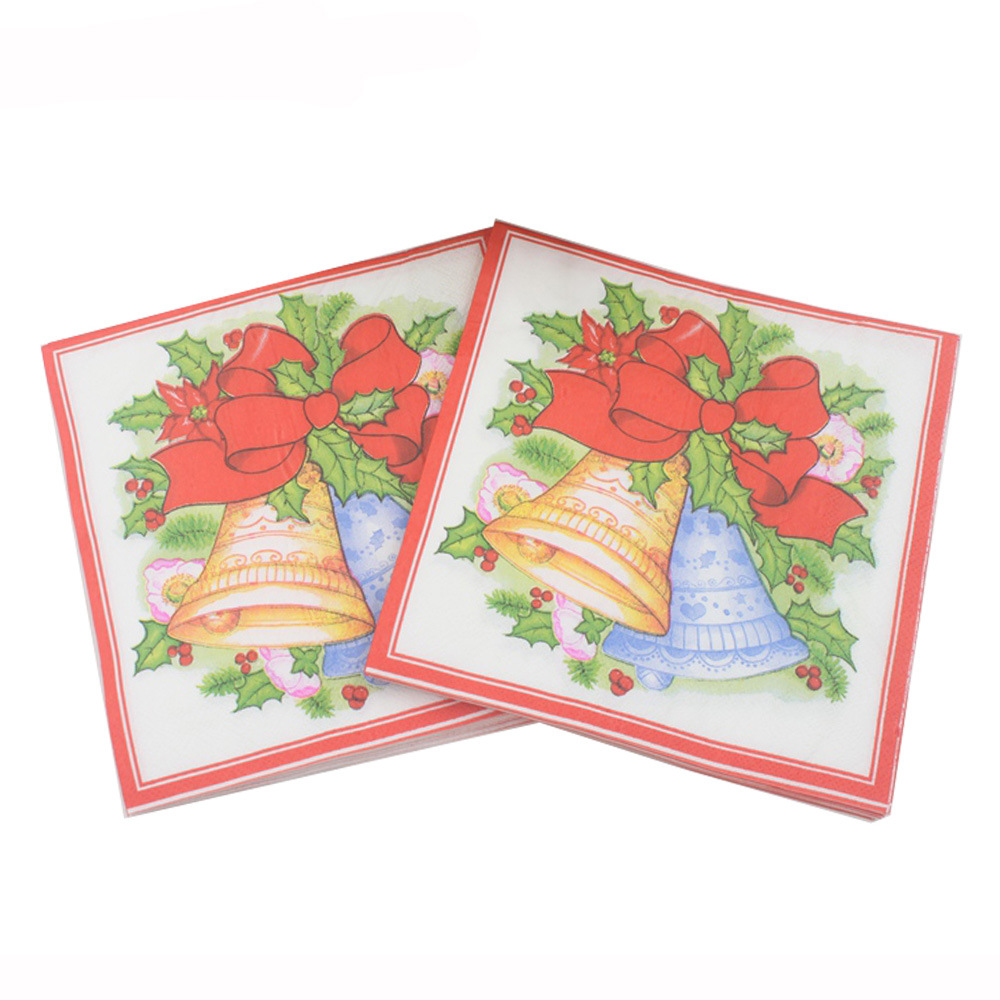 [Currently Available] 2019 Color Printed Napkin Christmas Bell Napkin Christmas Party Decoration Paper