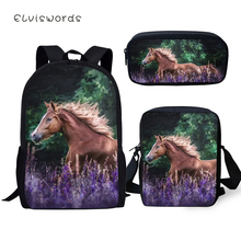 ELVISWORDS Childrens 3PCs Backpack Set Cartoon Horse Pattern Kids School Book Bags Students Backpack/Flaps Bag/Pen