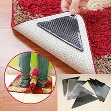 4pcs/Set Reusable Washable Rug Carpet Mat Grippers Non Slip Tri Sticker Silicone Grip Bath Living Room Pads Anti Slip(China)