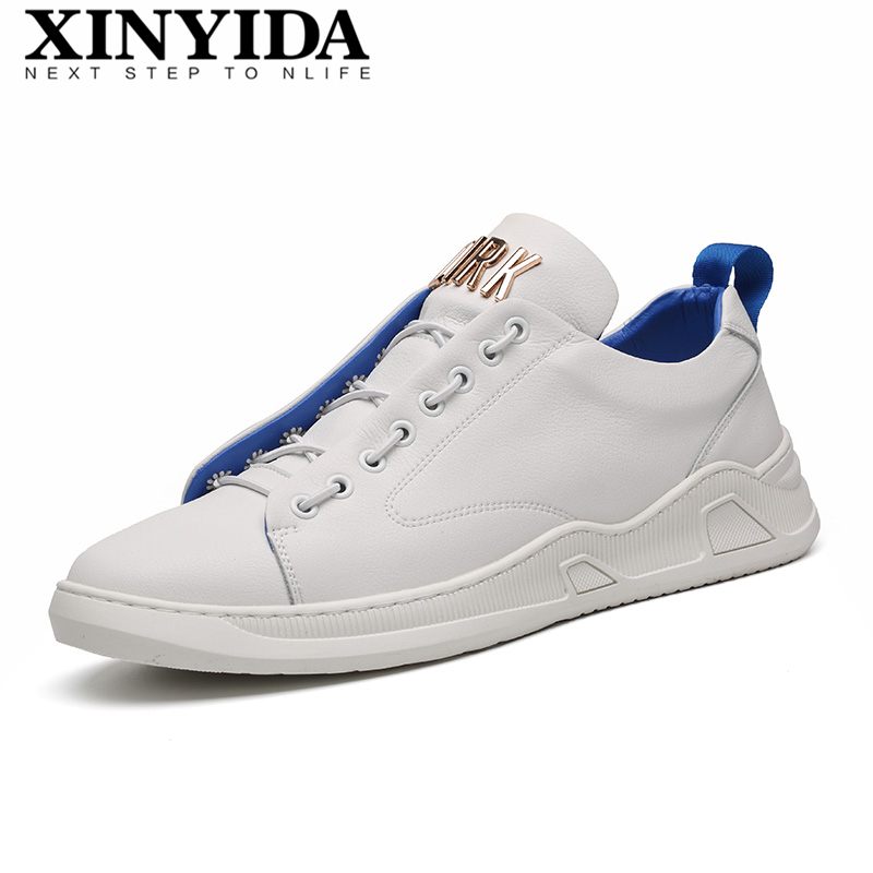 High Quality Genuine Leather Men Skateboard Shoes Lace Up Breathable Casual Sneakers For Men Fashion Men Flats Shoes Size 38-44