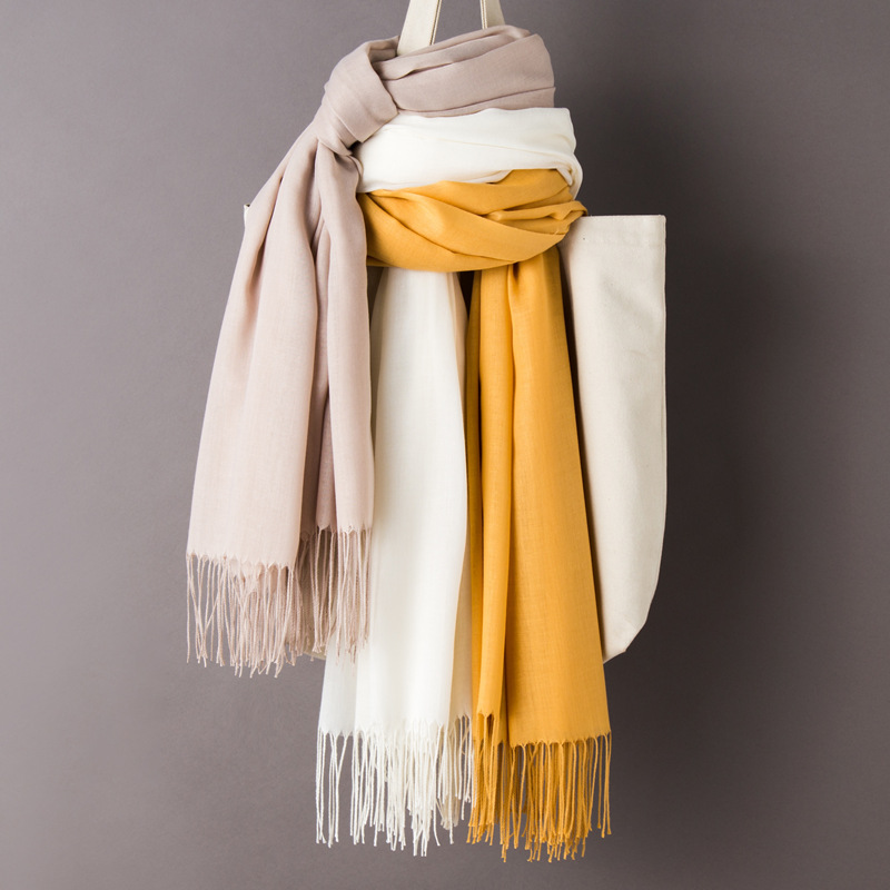 Women Solid Color Cashmere   Scarves   with Tassel 2019 Autumn New Soft Warm Lady Girls   Wraps   Thin Long   Scarf   Female Shawl Men   Scarf
