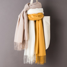Women Solid Color Cashmere Scarves with Tassel 2019 Autumn New Soft Warm Lady Gi
