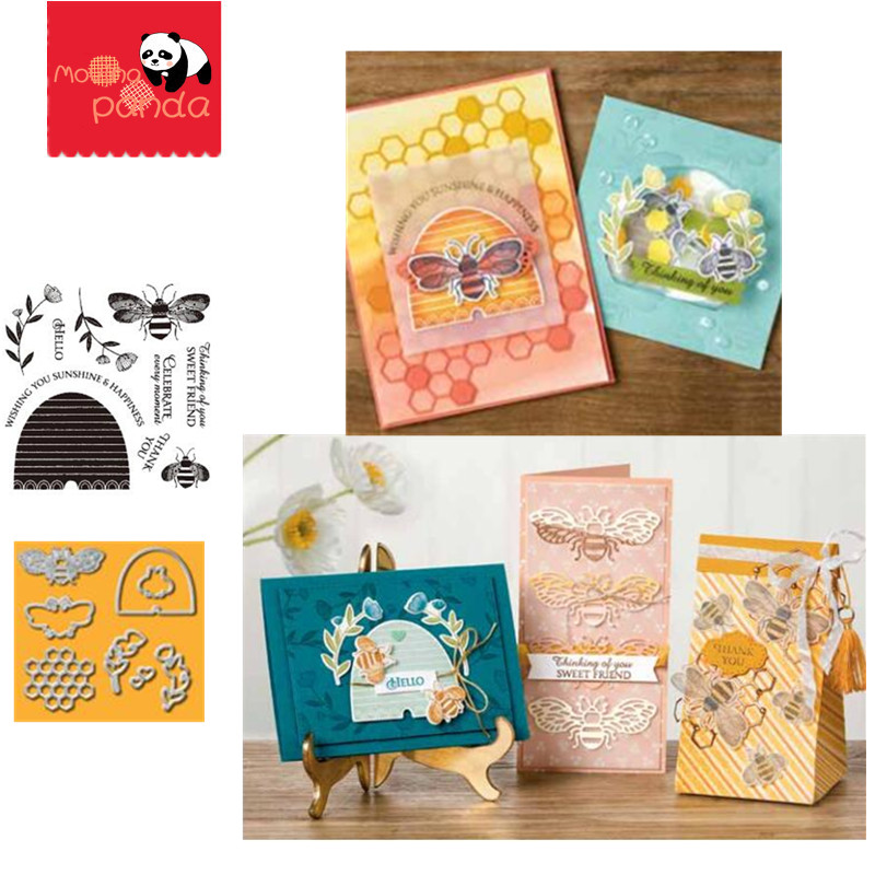 MP078 HONEY BEE Metal Cutting Dies And Stamps Stencil DIY Scrapbooking Album Stamp Paper Card Embossing Craft Decor