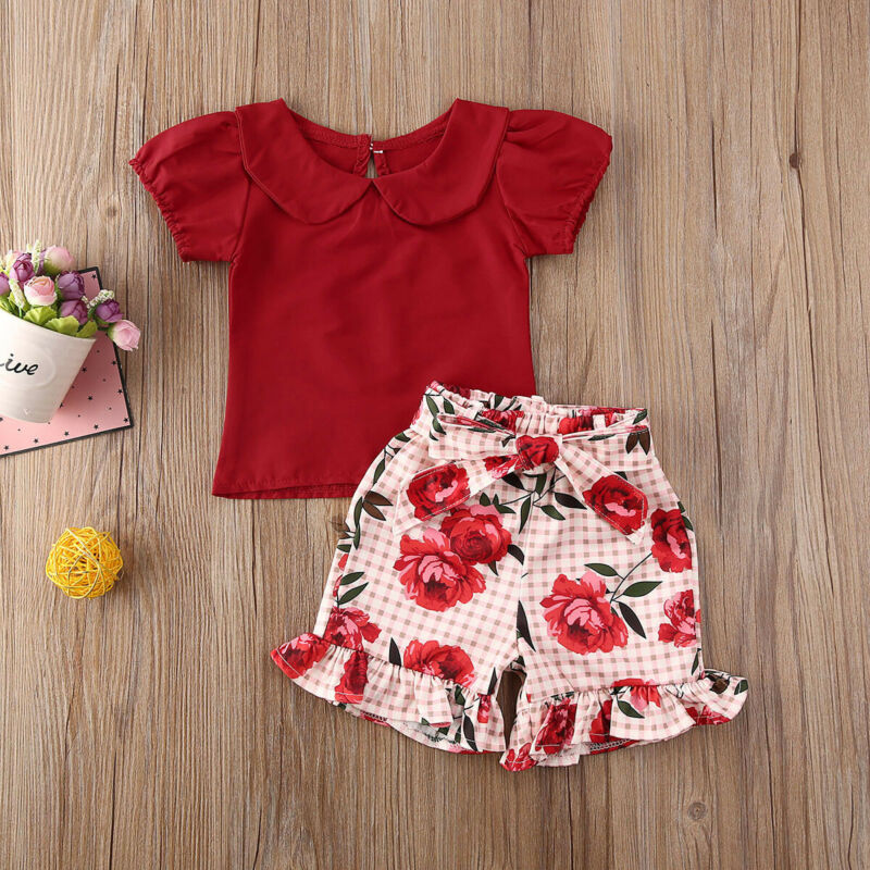 UK Toddler Baby Boy Formal Suit Flower Shirt+Shorts Pants Summer Outfits Clothes