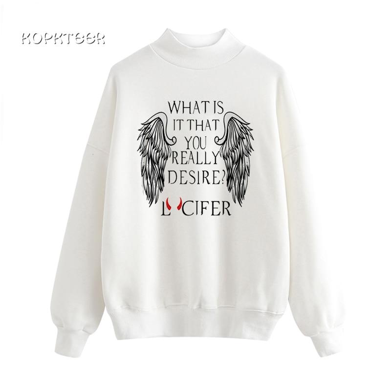 Satan Women's Sweatshirt Lucifer Demon Grim Reaper Baphome Hoodies Female O Neck Wing Gothic Vogue Sudadera Mujer Swear Femme