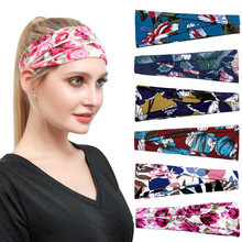 Women 2020 running Accessories Summer Stretch Hair Band Nonslip Elastic Folds Yoga Hairband Fashion Wide Sports Headband(China)