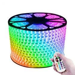 Светодиодная лента, водонепроницаемая, 16 цветов, 220 В, 110 В, 5050, 50 м, 100 м, IP67