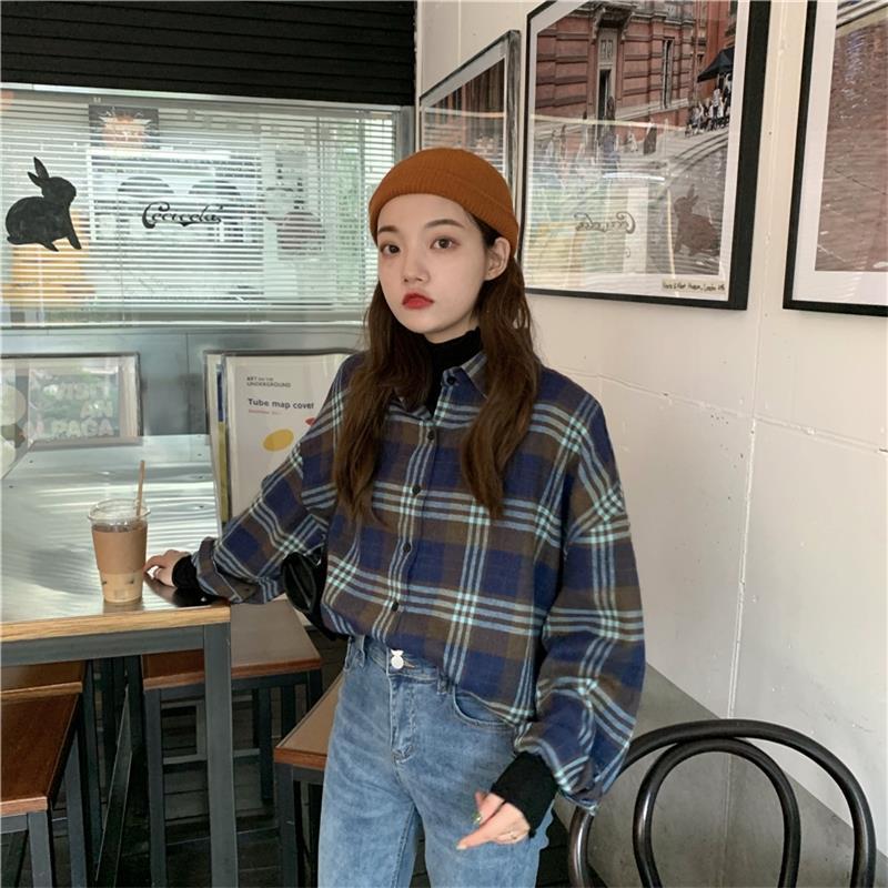 Female Korean Harajuku Cute Casual Plaid Lapel Shirt Women's Shirts Ulzzang Japanese Kawaii Ladies Vintage Clothes For Women