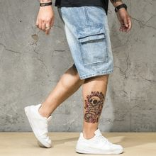 Plus Size 46 Mens Summer Denim Shorts Washed Loose Fit Casual Jeans Pockets Streetwear Knee Length Jeans Hip Hop Short Trousers(China)