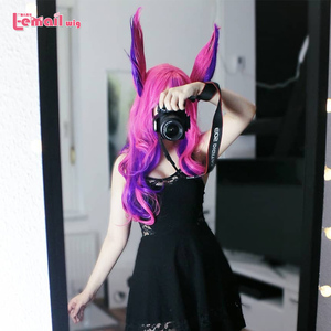 Image 2 - L email wig LoL Xayah Cosplay Wigs Star Guardians Cosplay Long Pink Purple Wig with Ears Halloween Heat Resistant Synthetic Hair