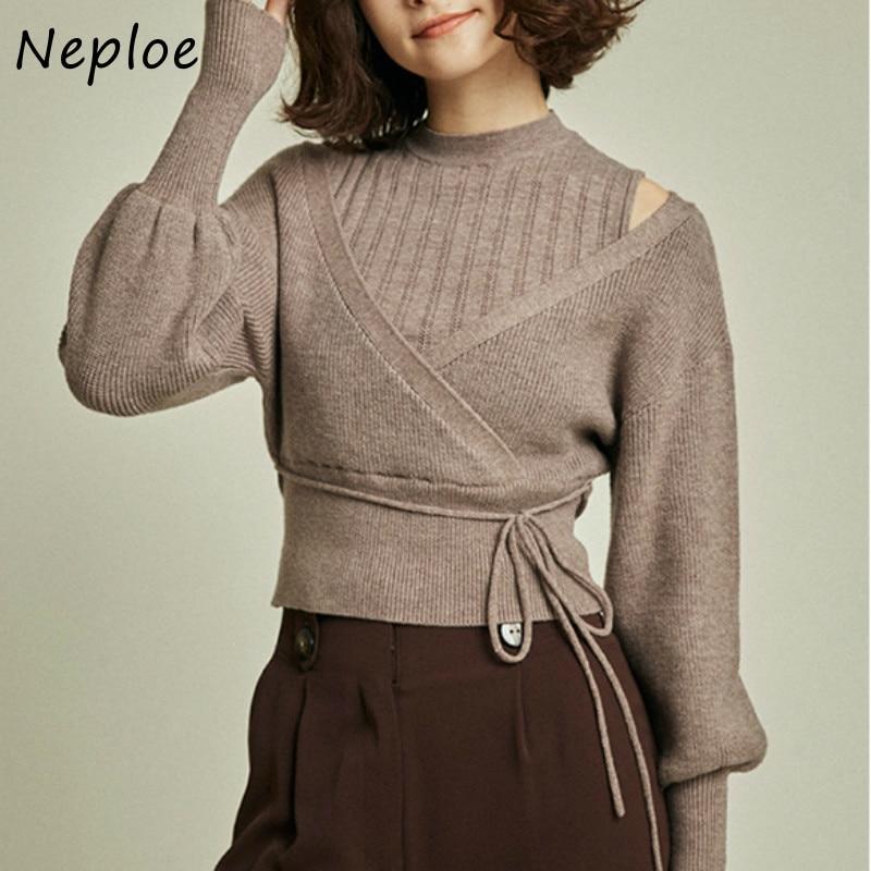 Knitted Sweaters Pullovers Puff-Sleeve Turtleneck Women Tops Loose-Shoulder Neploe Sweet