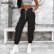 купить InstaHot Black Drwastring Cargo Pants Women Casual Jogger High Waist Loose Pocket Trousers Streetwear Capri Autumn Spring Pants дешево
