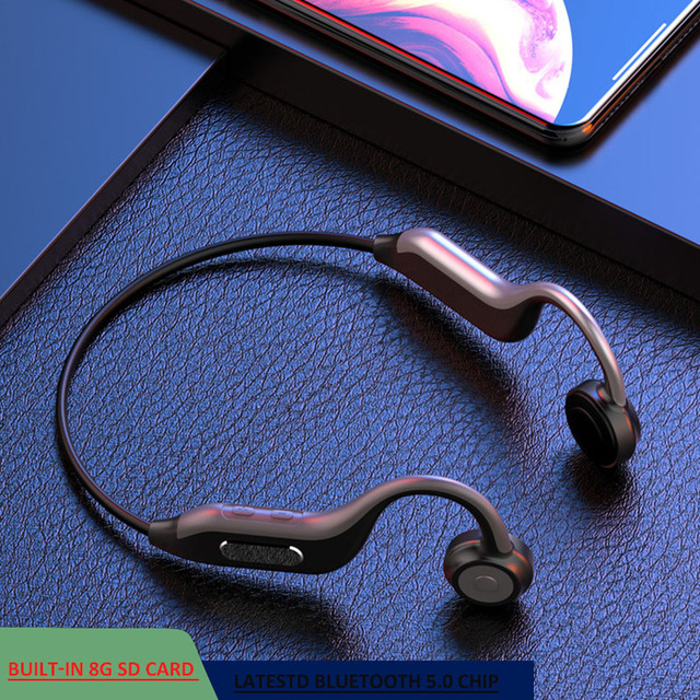 GGMM Headphones Bluetooth 5.0 Bone Conduction Wireless Headset Built in 8G Memory Card IPX67 Waterproof HD Mic Sports Earphones