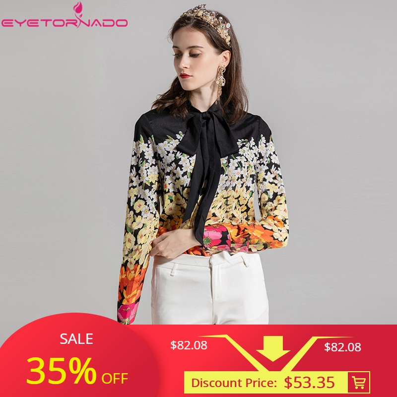 女性花柄エレガントなワークオフィスブラウスシャツ秋の弓襟長袖カジュアルシャツトップ Blusas Feminina プラスサイズ  グループ上の レディース衣服 からの ブラウス & シャツ の中 1