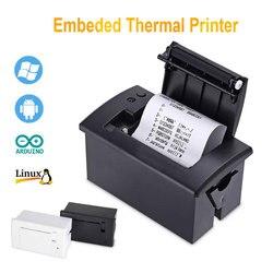 Mini impressora térmica encaixada painel de 58mm com uso rs232 ttl da relação para o bilhete do recibo esc pos arduino android 5 v-9 v qr701