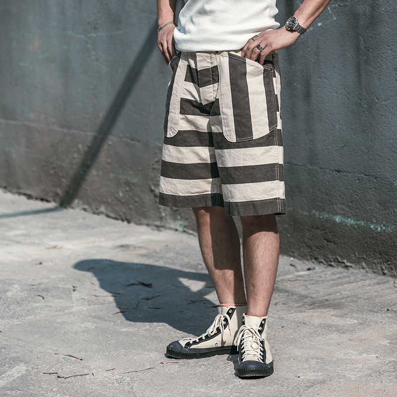 NON STOCK Black White Prison Striped Shorts Vintage Men's Relaxed Fit Work Pants