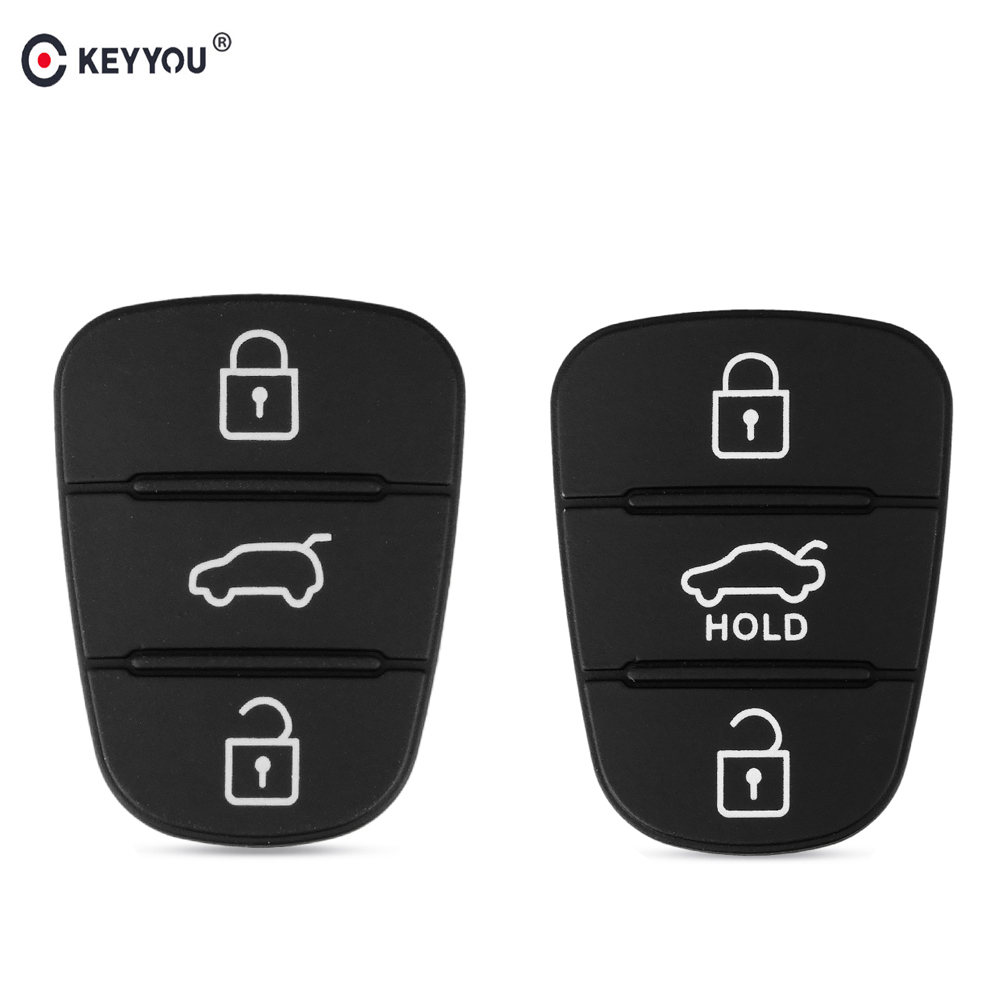 KEYYOU Replacement Rubber Button Pad For Hyundai Solaris Accent Tucson L10 L20 L30 Kia Rio Ceed Flip Remote Car Key Shell