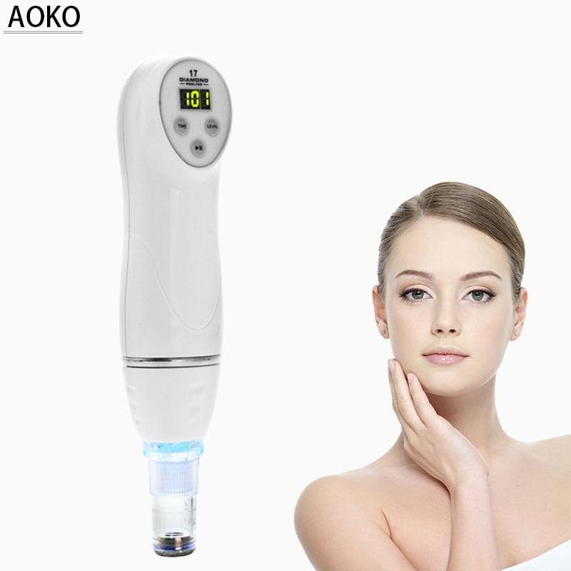 AOKO Portátil Mini Diamante Microdermoabrasão Descamação Da Pele Máquina Da Beleza do Vácuo Equipamentos de Remoção de Cravo Acne Limpeza Facial