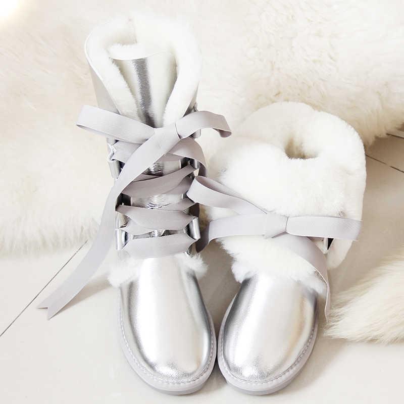 GY & YY แกะขนสัตว์รองเท้ารองเท้าหนังแท้ Sheepskin รองเท้าเข่าสูงรองเท้าบูทลูกไม้-Up แกะขนสัตว์ยาวสาวโบว์แบนฤดูหนาวรองเท้า